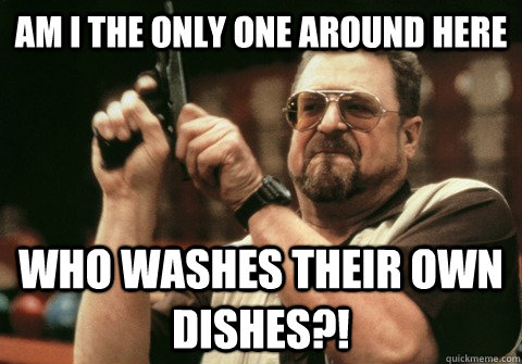 Am I the only one around here who washes their own dishes?! - Am I the only one around here who washes their own dishes?!  Am I the only one