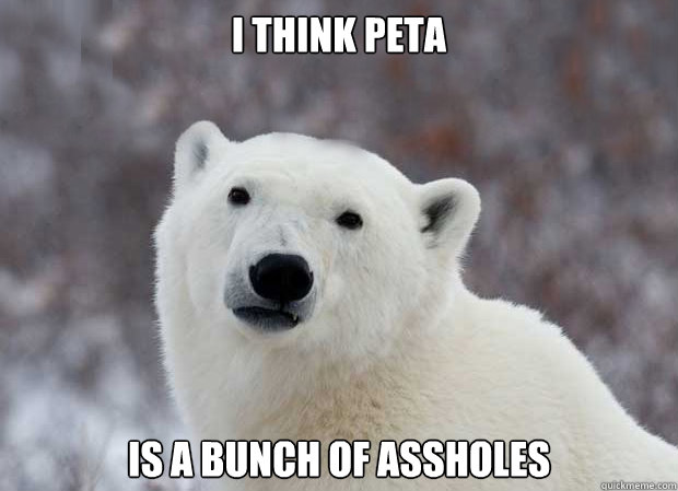 I think Peta is a bunch of assholes - I think Peta is a bunch of assholes  Popular Opinion Polar Bear
