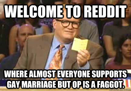 WELCOME TO Reddit Where almost everyone supports Gay Marriage but OP is a faggot.