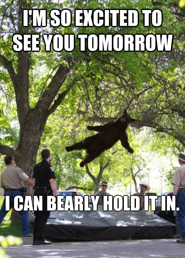 I'm so excited to see you tomorrow I can bearly hold it in.