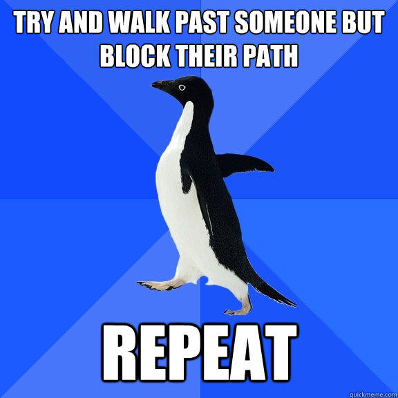 TRy and walk past someone but block their path repeat - TRy and walk past someone but block their path repeat  Socially Awkward Penguin