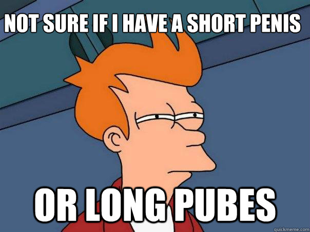 not sure if i have a short penis or long pubes - not sure if i have a short penis or long pubes  Futurama Fry