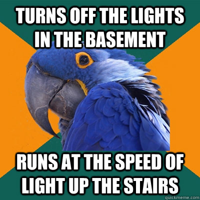 turns off the lights in the basement runs at the speed of light up the stairs - turns off the lights in the basement runs at the speed of light up the stairs  Paranoid Parrot