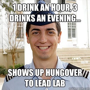 1 drink an hour, 3 drinks an evening... Shows up hungover to lead lab
