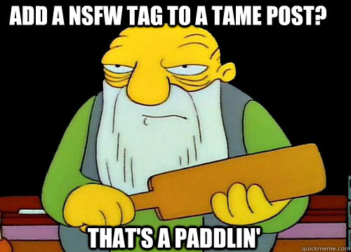 Add a NSFW tag to a tame post? That's a Paddlin' - Add a NSFW tag to a tame post? That's a Paddlin'  Thats a paddlin