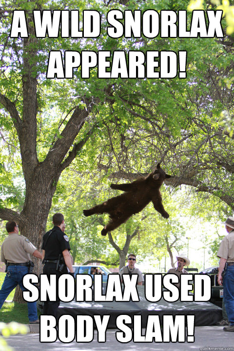 A wild snorlax appeared! snorlax used body slam!