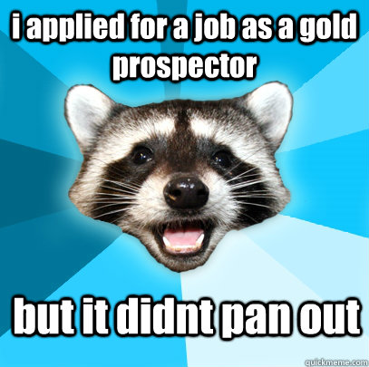 i applied for a job as a gold prospector  but it didnt pan out - i applied for a job as a gold prospector  but it didnt pan out  Lame Pun Coon