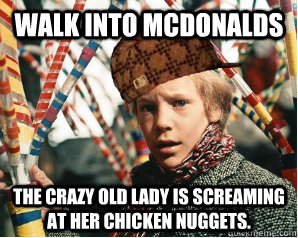 3db5ff9646900b154eb5325720de07df2d9c25c87fb7f4b3bedb483915b7a42c walk into mcdonalds the crazy old lady is screaming at her chicken