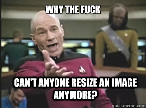 why the fuck Can't anyone resize an image anymore?  - why the fuck Can't anyone resize an image anymore?   Annoyed Picard