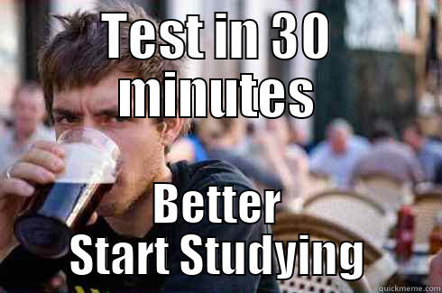 TEST IN 30 MINUTES BETTER START STUDYING Lazy College Senior