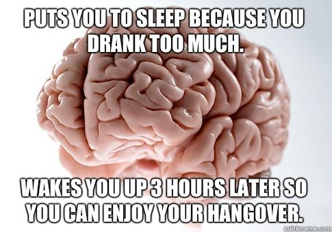 Puts you to sleep because you drank too much. Wakes you up 3 hours later so you can enjoy your hangover.  Scumbag Brain
