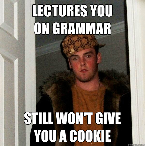Lectures you  on grammar Still won't give  you a cookie - Lectures you  on grammar Still won't give  you a cookie  Scumbag Steve