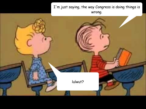I'm just saying, the way Congress is doing things is wrong. lulwut?  Charlie Brown