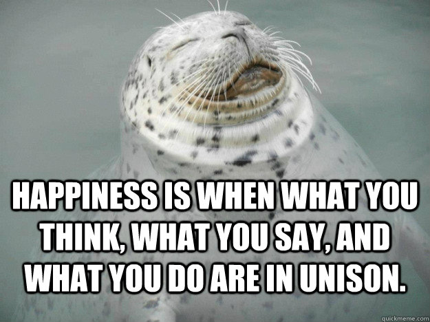 Happiness is when what you think, what you say, and what you do are in unison.  Serenity Seal