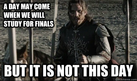 A day may come when we will study for finals But it is not this day  Not This Day Aragorn