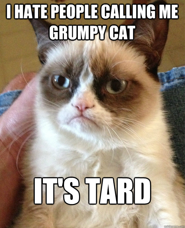 I hate people calling me grumpy cat it's tard - I hate people calling me grumpy cat it's tard  Grumpy Cat