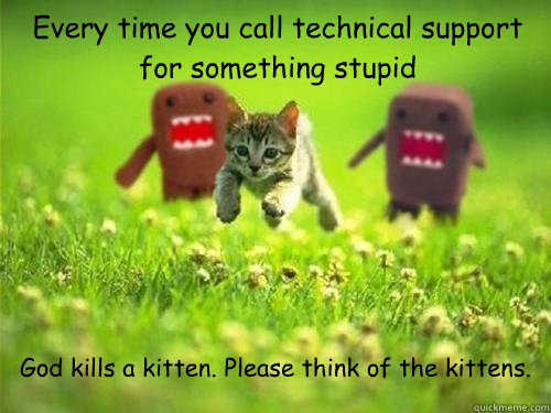 Every time you call technical support for something stupid God kills a kitten. Please think of the kittens.