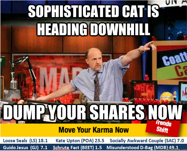 Sophisticated cat is heading downhill Dump your shares now