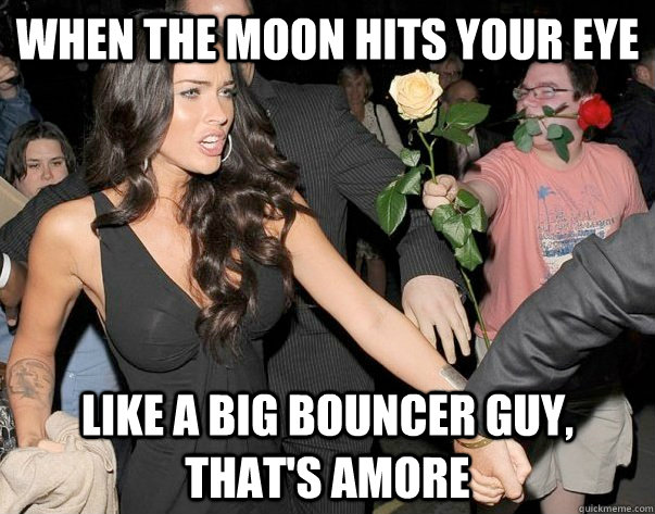 When the moon hits your eye like a big bouncer guy, that's amore - When the moon hits your eye like a big bouncer guy, that's amore  Out of his legue guy