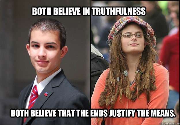 Both Believe in truthfulness  Both believe that The Ends Justify The Means. - Both Believe in truthfulness  Both believe that The Ends Justify The Means.  College Liberal Vs College Conservative