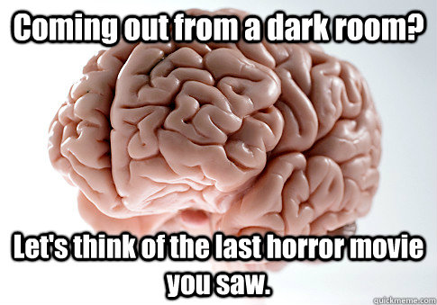 Coming out from a dark room? Let's think of the last horror movie you saw.  - Coming out from a dark room? Let's think of the last horror movie you saw.   Scumbag Brain