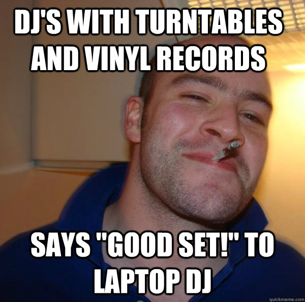 dj's with turntables and vinyl records says