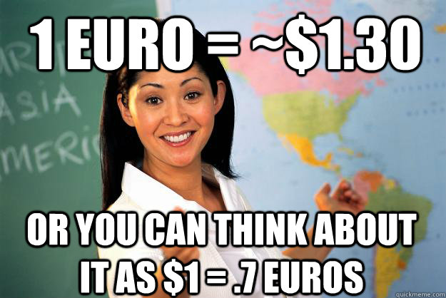 1 Euro = ~$1.30 Or you can think about it as $1 = .7 Euros - 1 Euro = ~$1.30 Or you can think about it as $1 = .7 Euros  Unhelpful High School Teacher