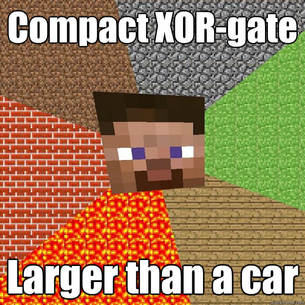 Compact XOR-gate Larger than a car - Compact XOR-gate Larger than a car  Minecraft