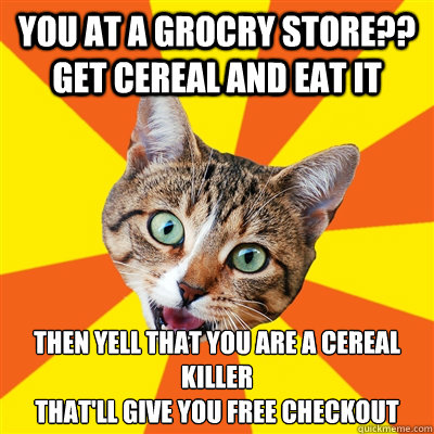 you at a grocry store?? get cereal and eat it then yell that you are a cereal killer that'll give you free checkout - you at a grocry store?? get cereal and eat it then yell that you are a cereal killer that'll give you free checkout  Bad Advice Cat