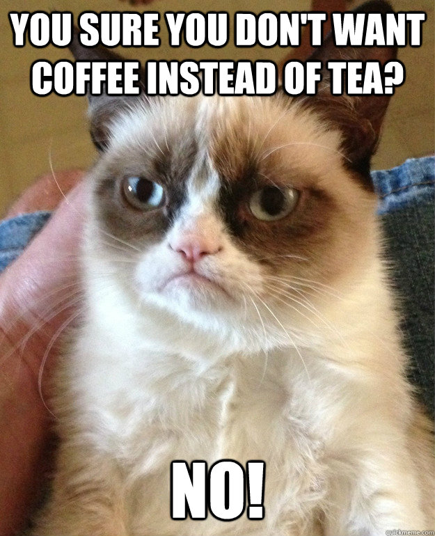 You sure you don't want coffee instead of tea? no! - You sure you don't want coffee instead of tea? no!  Misc