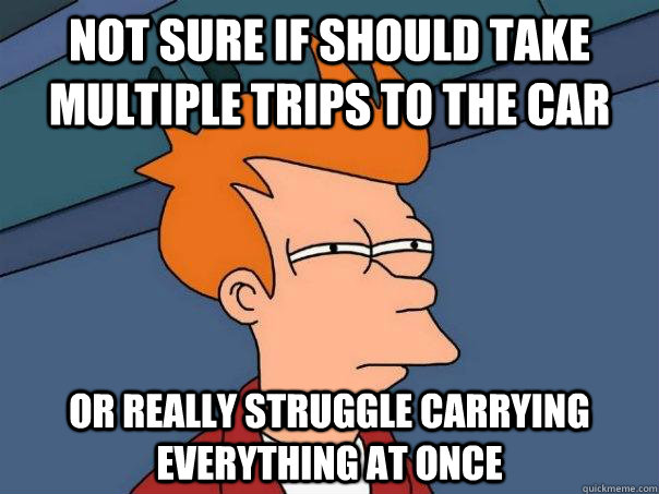 Not sure if should take multiple trips to the car Or really struggle carrying everything at once - Not sure if should take multiple trips to the car Or really struggle carrying everything at once  Futurama Fry