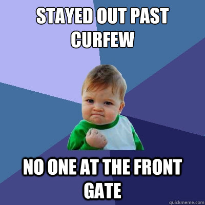 why not to be out past curfew Should there be a legal curfew for people under 18 48% say yes curfew spread out seeing if kids were still out past curfew curfews should not be forced.