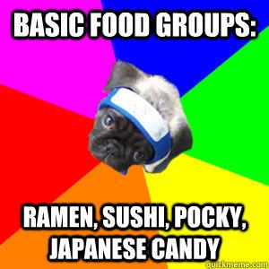 basic food groups: ramen, sushi, pocky, japanese candy