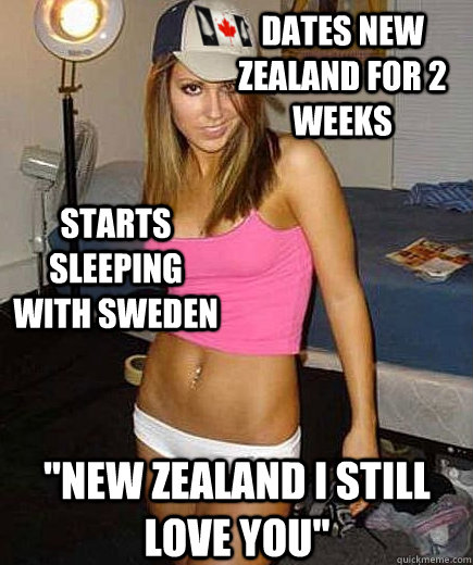 Dates New Zealand For 2 weeks Starts sleeping with Sweden
