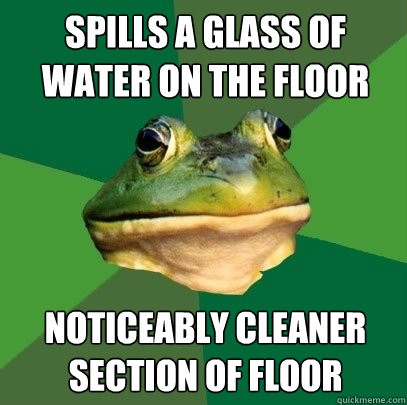 Spills a glass of water on the floor Noticeably cleaner section of floor - Spills a glass of water on the floor Noticeably cleaner section of floor  Foul Bachelor Frog
