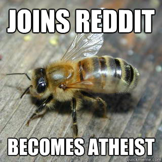 Joins reddit Becomes atheist  - Joins reddit Becomes atheist   Hivemind bee