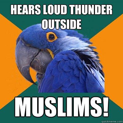 Hears loud thunder outside Muslims! - Hears loud thunder outside Muslims!  Paranoid Parrot