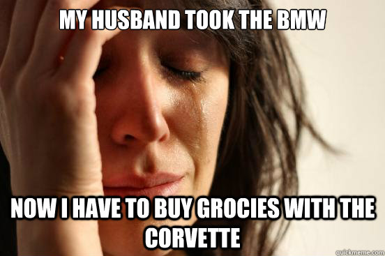 My husband took the BMW Now I have to buy grocies with the corvette - My husband took the BMW Now I have to buy grocies with the corvette  First World Problems