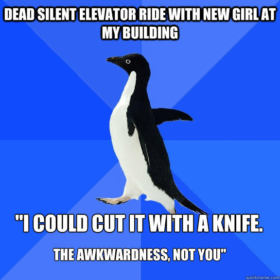 dead silent elevator ride with new girl at my building
