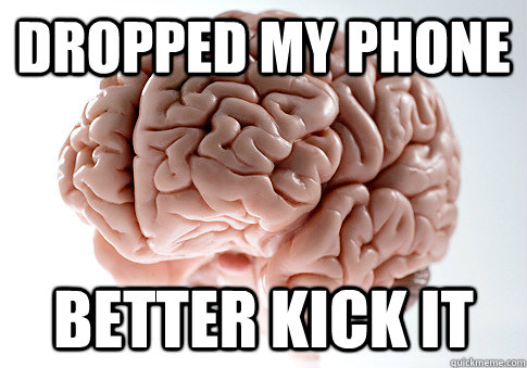DROPPED MY PHONE BETTER KICK IT - DROPPED MY PHONE BETTER KICK IT  Scumbag Brain