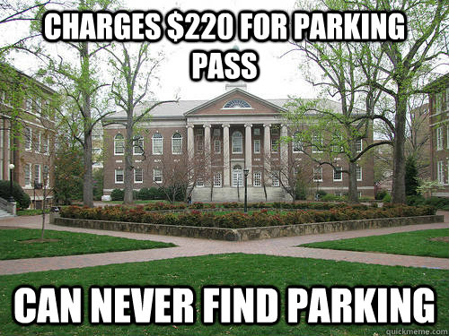 Charges $220 for Parking pass Can never find parking - Charges $220 for Parking pass Can never find parking  Scumbag University