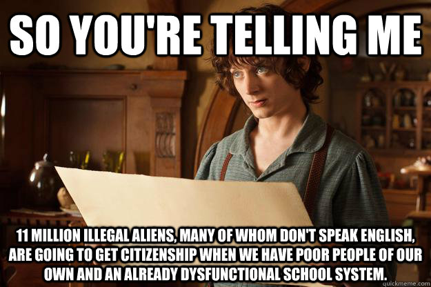 So you're telling me 11 MILLION ILLEGAL ALIENS, MANY OF WHOM DON'T SPEAK ENGLISH, ARE GOING TO GET CITIZENSHIP WHEN WE HAVE POOR PEOPLE OF OUR OWN AND AN ALREADY DYSFUNCTIONAL SCHOOL SYSTEM.