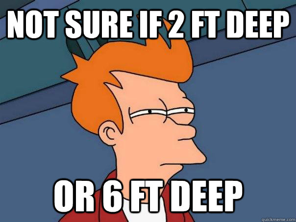 Not sure if 2 ft deep or 6 ft deep - Not sure if 2 ft deep or 6 ft deep  Futurama Fry