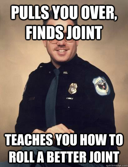 Pulls you over, finds joint teaches you how to roll a better joint - Pulls you over, finds joint teaches you how to roll a better joint  Good Guy Cop