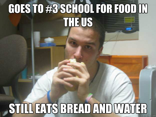 Goes to #3 school for food in the US  Still eats bread and water