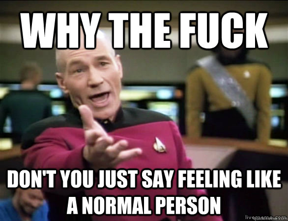 why the fuck DON'T YOU JUST SAY FEELING like a normal person - why the fuck DON'T YOU JUST SAY FEELING like a normal person  Annoyed Picard HD