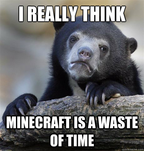 I really think Minecraft is a waste of time  Confession Bear