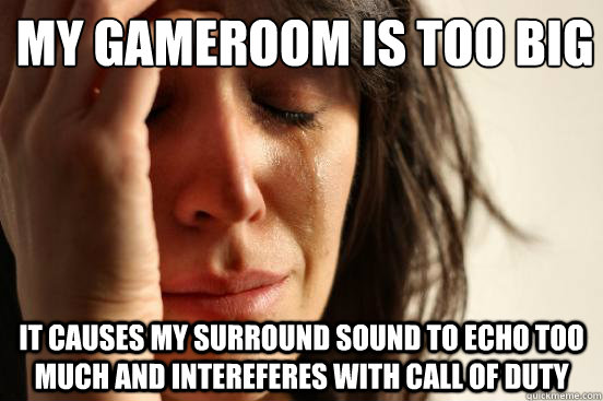My gameroom is too big It causes my surround sound to Echo too much and intereferes with Call of Duty - My gameroom is too big It causes my surround sound to Echo too much and intereferes with Call of Duty  First World Problems