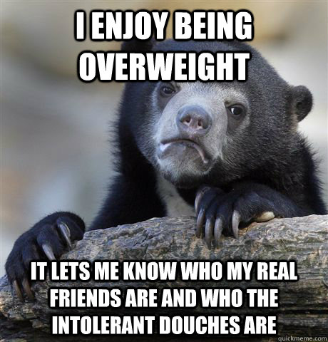 I enjoy being overweight it lets me know who my real friends are and who the intolerant douches are - I enjoy being overweight it lets me know who my real friends are and who the intolerant douches are  Confession Bear
