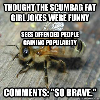 Thought the scumbag fat girl jokes were funny Comments: